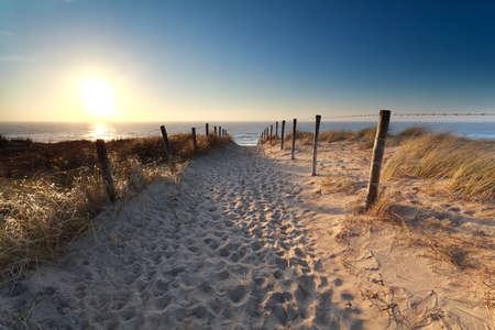 pad op zand aan Noordzeestrand in zonsondergang, Zandvoort aan Zee, Noord-Holland, Nederland