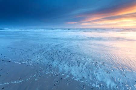 north holland: sunset over North sea coast, Bergen aan zee, North Holland, Netherlands