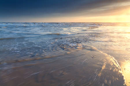 north holland: North sea coast at sunset, North Holland, Netherlands Stock Photo
