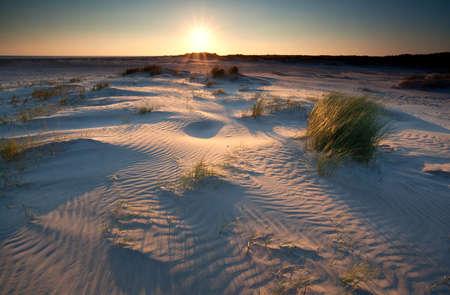 sunrise over sand dunes on North sea coast, Schiermonnikoog, Netherlands