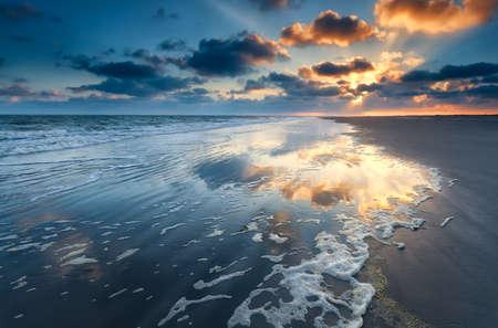 sunrise over North sea coast, Schiermonnikoog, Friesland, Netherlands