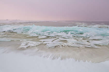 shelf ice: shelf ice on North sea in winter at sunset Stock Photo