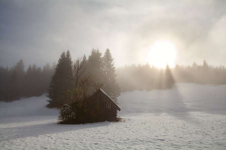 sunrise over alpine snow meadow with old hut, Germany photo