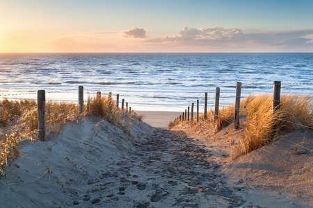 zandpad naar Noordzee kust bij zonsondergang, Holland
