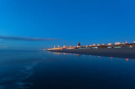 bu: Zandvoort city by north sea coast bu night, Netherlands