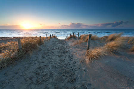 north holland: sunset over North sea beach, north Holland, Netherlands Stock Photo