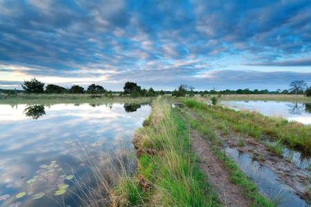 een weg tussen twee meren bij zonsopgang, Noord-Brabant, Nederland Stockfoto