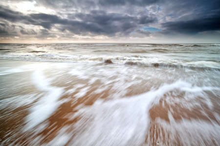 north holland: waves on North sea coast with long exposure, North Holland, Netherlands Stock Photo