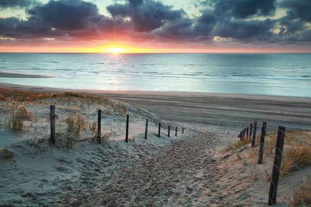 sunshine on sand path to sand beach, Holland Banco de Imagens