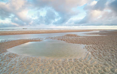 north holland: North sea beach at low tide, North Holland, Netherlands