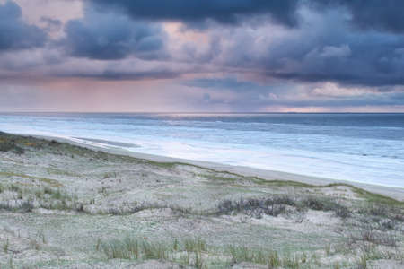 north holland: storm and showers over North sea, North Holland, Netherlands Stock Photo