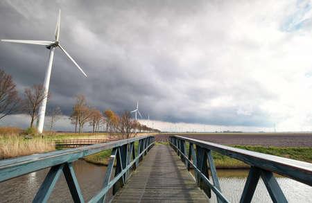 flevoland: wind turbines on Dutch farmland in sunshine, Flevoland, Netherlands
