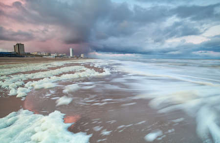 north sea: stormy North sea at sunrise by Zandvoort aan zee, Netherlands