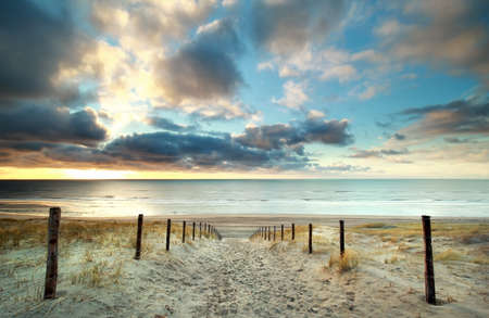 north holland: sunset over North sea coast, North Holland, Netherlands Stock Photo
