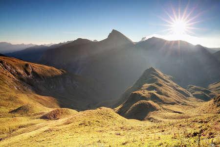 morning sunshine over mountain range, Alps, Austria