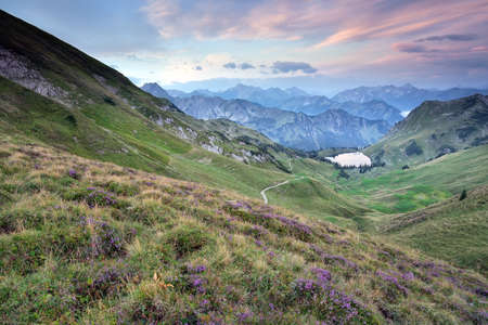 flowering heather on mountains by alpine lake Stock Photo