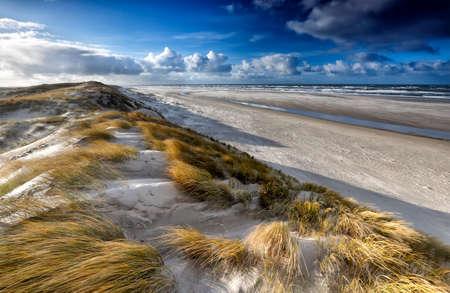 widok z wydmy na wybrzeżu Morza Północnego, Texel, Holandia
