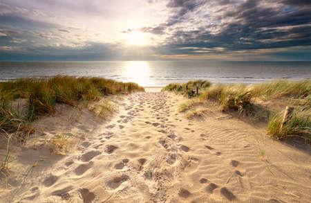 Soleil sur le chemin de sable jusqu'à la plage de la mer du Nord en été