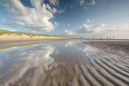 beautiful view on north sea beach on sunny summer day