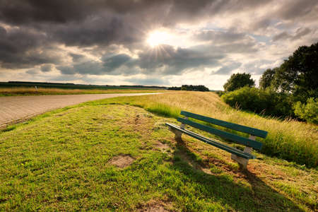 sunshine over road and wooden bench in summer