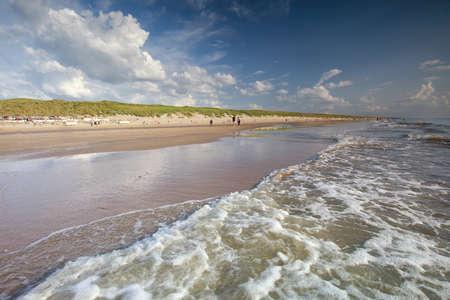waves on North sea beach in summer, Zandvoort, Netherlands
