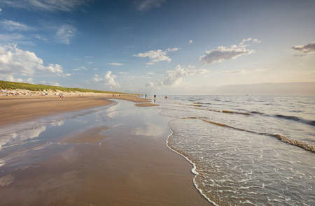 beautiful North sea sand beach in summer, Holland