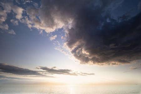 dramatic cloud over North sea at sun down Banco de Imagens