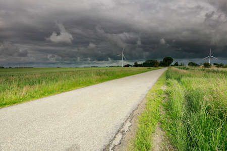 countryside road during storm, Netherlands