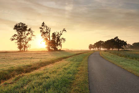 road in Dutch countryside at misty sunrise