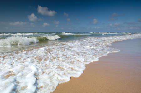 beautiful sea waves on sea beach during summertime, Hague
