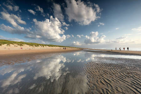 beautiful sky over North sea beach on sunnyy day in summer Banco de Imagens