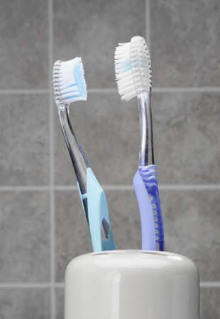 Two Toothbrushes in toothbrush holder