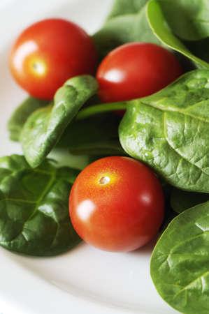 ベビーほうれん草とチェリー トマトのサラダ白プレート。
