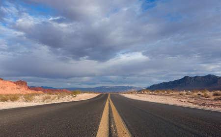 nevada desert: Empty road in the Nevada desert Stock Photo