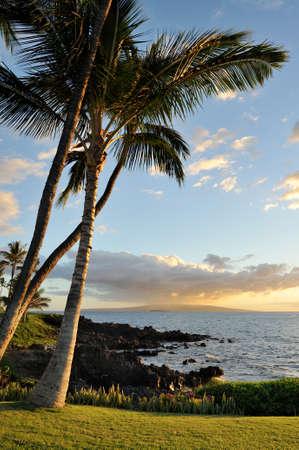 Sunset on the island of Maui, Hawaii