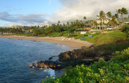resort beach: Tropical beach at sunset and resort in Wailea, Maui