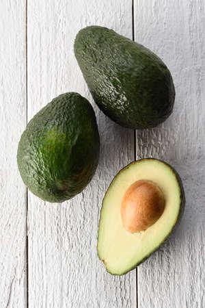 Freshly sliced ??avocado on a white background