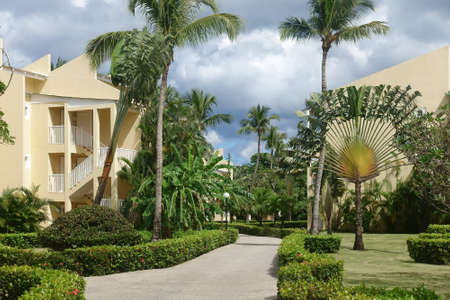 Tourist resort or condo with tropical landscape