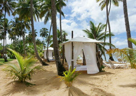 Beach hut on a tropical beach with palm trees Editorial