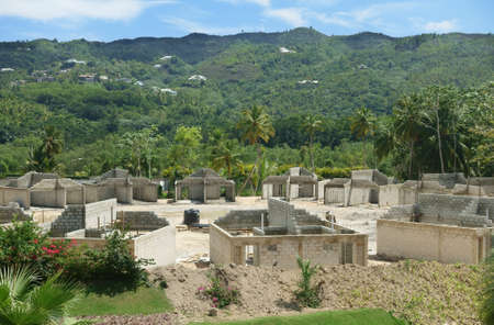 Construction site of a residential complex in a tropical country Imagens