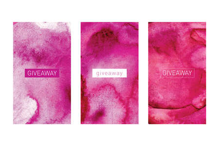Banners in social networks. Giveaway fashion story frames, fashion post sale. illustration of trendy gift boxes and winning prizes design concept. Banner for the Internet with watercolor background in pink