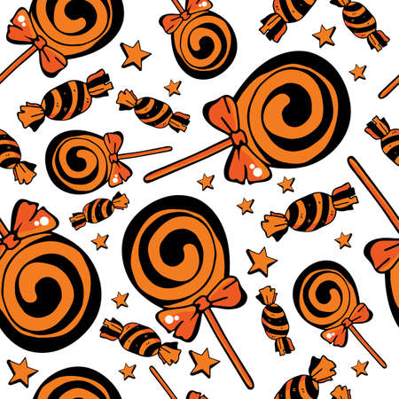 Vector seamless pattern of candy and Lollipop on a black background. Sweets for Halloween. Design for textile, paper, Wallpaper, packaging, banner, card, invitation, postcard. Festive decoration for Halloween