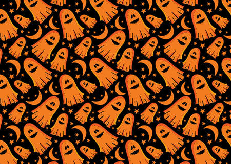 Vector seamless pattern fun Ghost among the stars and the month. Funky monster for Halloween. Design for textiles, paper, Wallpaper, packaging, banner,postcard, invitation, . Festive