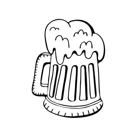 Mug of beer drawing black and white line. A refreshing drink for your birthday. Oktoberfest festival themed illustrations for badge, sticker, patch, label, badge, certificate or banner advertising decoration