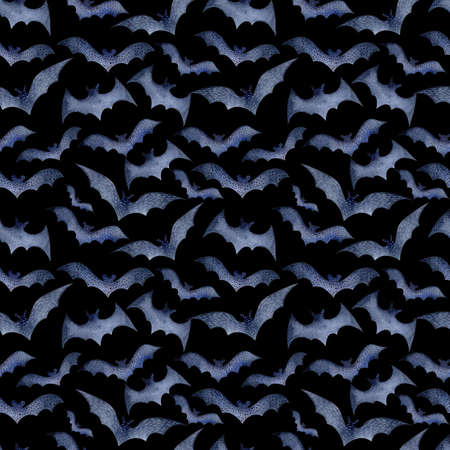 Seamless pattern of bats for Halloween on a black background, watercolor. Decoration for the autumn holiday. Mystical, fabulous, fun style. Bright background for packaging, textiles, Wallpaper Stock Photo