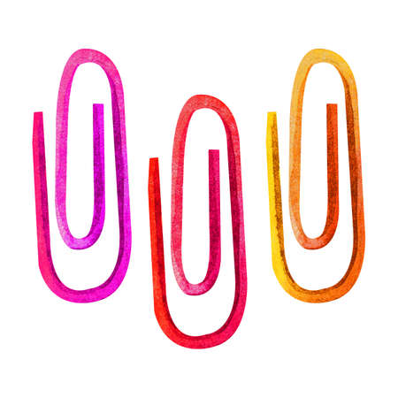 Watercolor illustration of three colorful office paper clips, isolated on white background. A hand-drawn sketch of fixed objects. School or office supplies. Back to the topic of the item