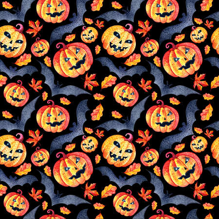 Seamless background in watercolor pumpkins, autumn leaves and bats. Pattern for the autumn holiday Halloween. Mystical, fabulous, fun style. Bright texture for packaging, textiles. Black background.