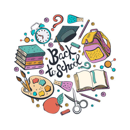 Cartoon cute Doodle back to school phrase. Colorful illustration. Background with lots of objects. Funny works of art. Vector illustration hand-drawn. Different school subjects isolated