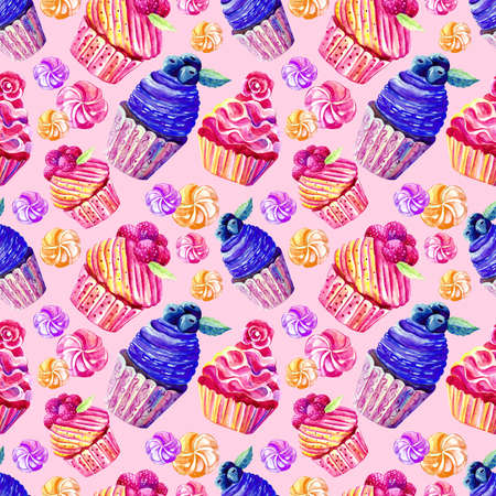 Seamless pattern of cakes, cupcakes, marshmallows in watercolor on pink background. Hand-drawn. Illustration of sweets. Background for packaging, textiles, Wallpaper. Raspberries, blueberries, strawberries. Stock Photo