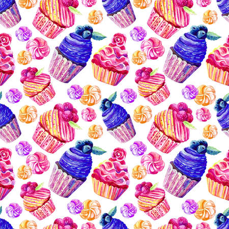Seamless pattern of cakes, cupcakes, marshmallows in watercolor on white background. Hand-drawn. Illustration of sweets. Background for packaging, textiles, Wallpaper. Confectionery theme Stock Photo